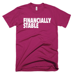 """Financially Stable"" Men's Rasberry T-Shirt By Disposable Income Clothing... Made for Money, by Money. www.lukeandlynn.com"