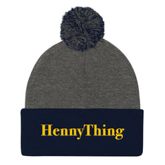 """HennyThing"" Navy/Grey Pom Pom Unisex Knit Cap (Men/Women) by Luke&Lynn Clothing www.lukeandlynn.com"