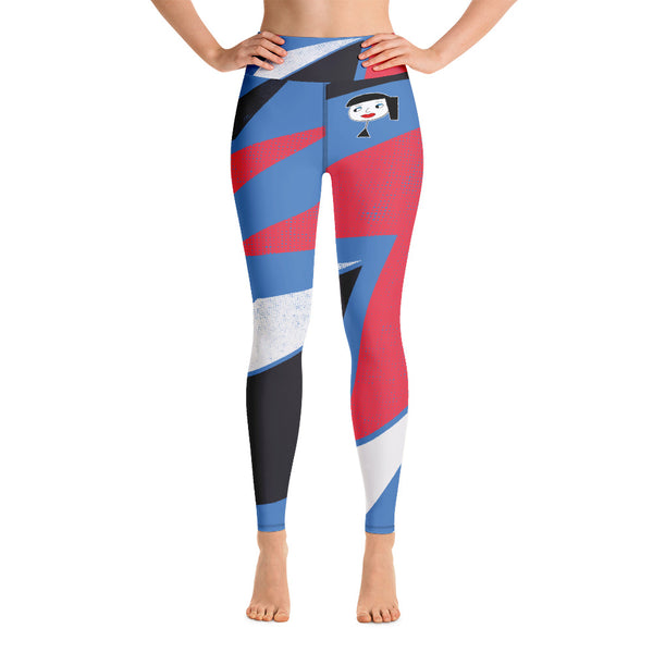 """Lynn Beauty-Face"" Blue Lightning Yoga / Workout Leggings"