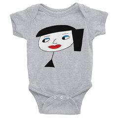 """Lynn Beauty-Face"" Grey Infant Short Sleeve Onesie by Luke&Lynn Clothing www.lukeandlynn.com"