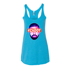 "Drizzy ""Zaddy"" Women's Aqua Racerback Tank Top by Luke&Lynn Clothing (Inspired by OVO Drake)"
