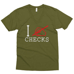 """I Write Checks"" Men's V-neck (Dark Colors)"