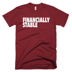 """Financially Stable"" Men's Cranberry T-Shirt By Disposable Income Clothing... Made for Money, by Money. www.lukeandlynn.com"