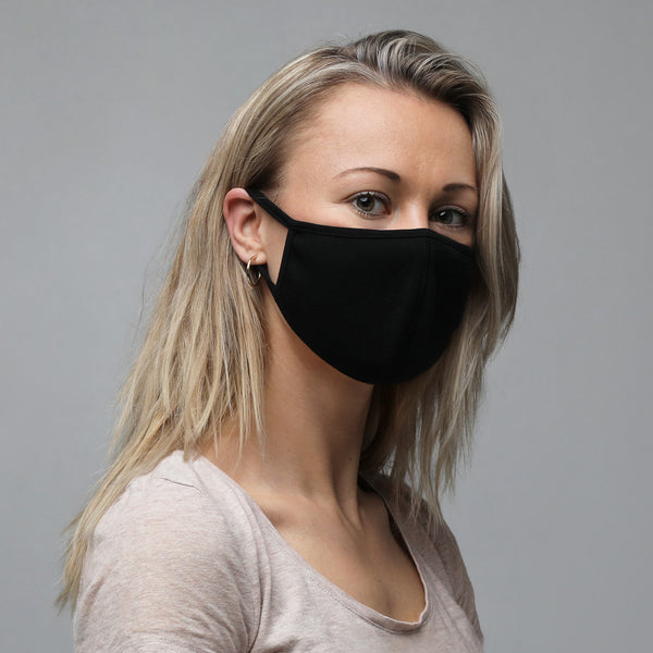Plain Black Fabric Unisex Face Mask (3-Pack)