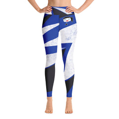 """Lynn Beauty-Face"" Blue-Black-White Lightning Yoga / Workout Leggings"