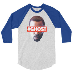 """Free Ghost"" Unisex (Men/Women) Blue/Heather Grey 3/4 Sleeve Baseball Shirt by Luke&Lynn Clothing (inspired by the STARZ Series, Power)"