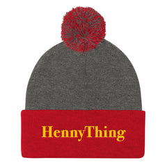"""HennyThing"" Red/Grey Pom Pom Unisex Knit Cap (Men/Women) by Luke&Lynn Clothing www.lukeandlynn.com"