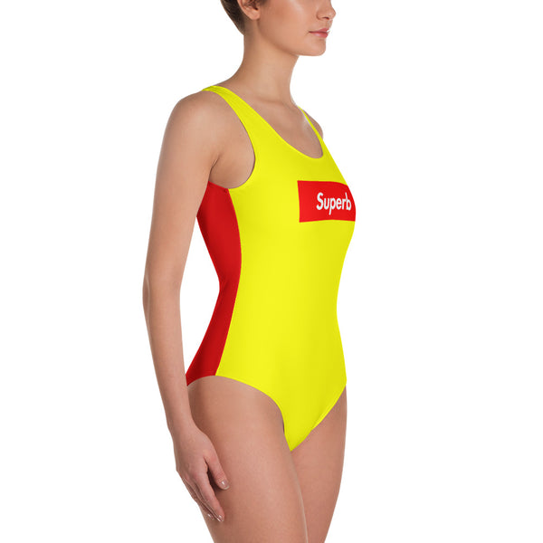 """Superb"" (Two-Tone) Yellow / Red Swimsuit / Bodysuit"