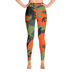 High-Waisted Orange Camouflage Leggings