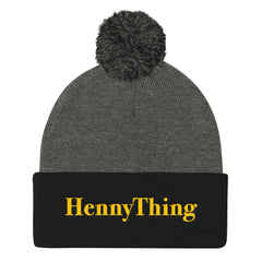 """HennyThing"" Black/Grey Pom Pom Unisex Knit Cap (Men/Women) by Luke&Lynn Clothing www.lukeandlynn.com"