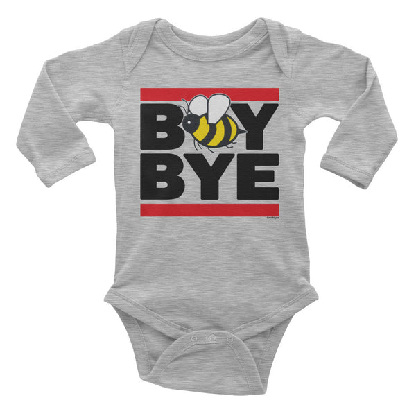 """Boy Bye"" Bee Infant Long Sleeve Onesie (White / Grey)"