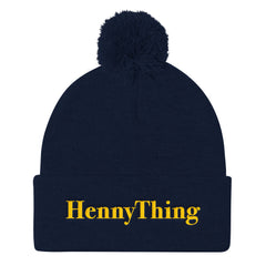 """HennyThing"" Navy Blue Pom Pom Unisex Knit Cap (Men/Women) by Luke&Lynn Clothing www.lukeandlynn.com"
