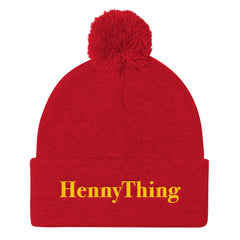 """HennyThing"" Red Pom Pom Unisex Knit Cap (Men/Women) by Luke&Lynn Clothing www.lukeandlynn.com"