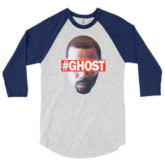 """Free Ghost"" Unisex (Men/Women) Navy/Heather Grey 3/4 Sleeve Baseball Shirt by Luke&Lynn Clothing (inspired by the STARZ Series, Power)"