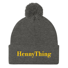 """HennyThing"" Grey Pom Pom Unisex Knit Cap (Men/Women) by Luke&Lynn Clothing www.lukeandlynn.com"