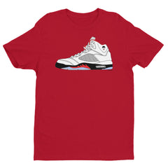"""Luke Retro 5"" Men's Red T-Shirt by Luke&Lynn Clothing"