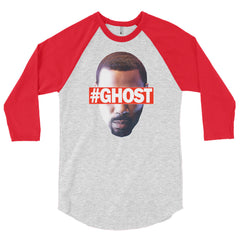 """Free Ghost"" Unisex (Men/Women) Red/Heather Grey 3/4 Sleeve Baseball Shirt by Luke&Lynn Clothing (inspired by the STARZ Series, Power)"