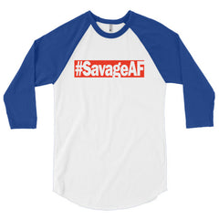 "Savage ""SavageAF"" Unisex (Men/Women) 3/4 Sleeve Baseball Shirt by Luke&Lynn Clothing"