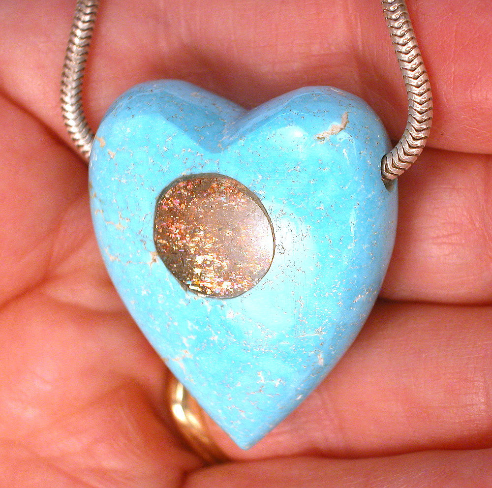 DVH 92ct Arizona Turquoise Heart Focal Bead Mourning Gem with Sunstone Inlay 34x29x15 (8602)