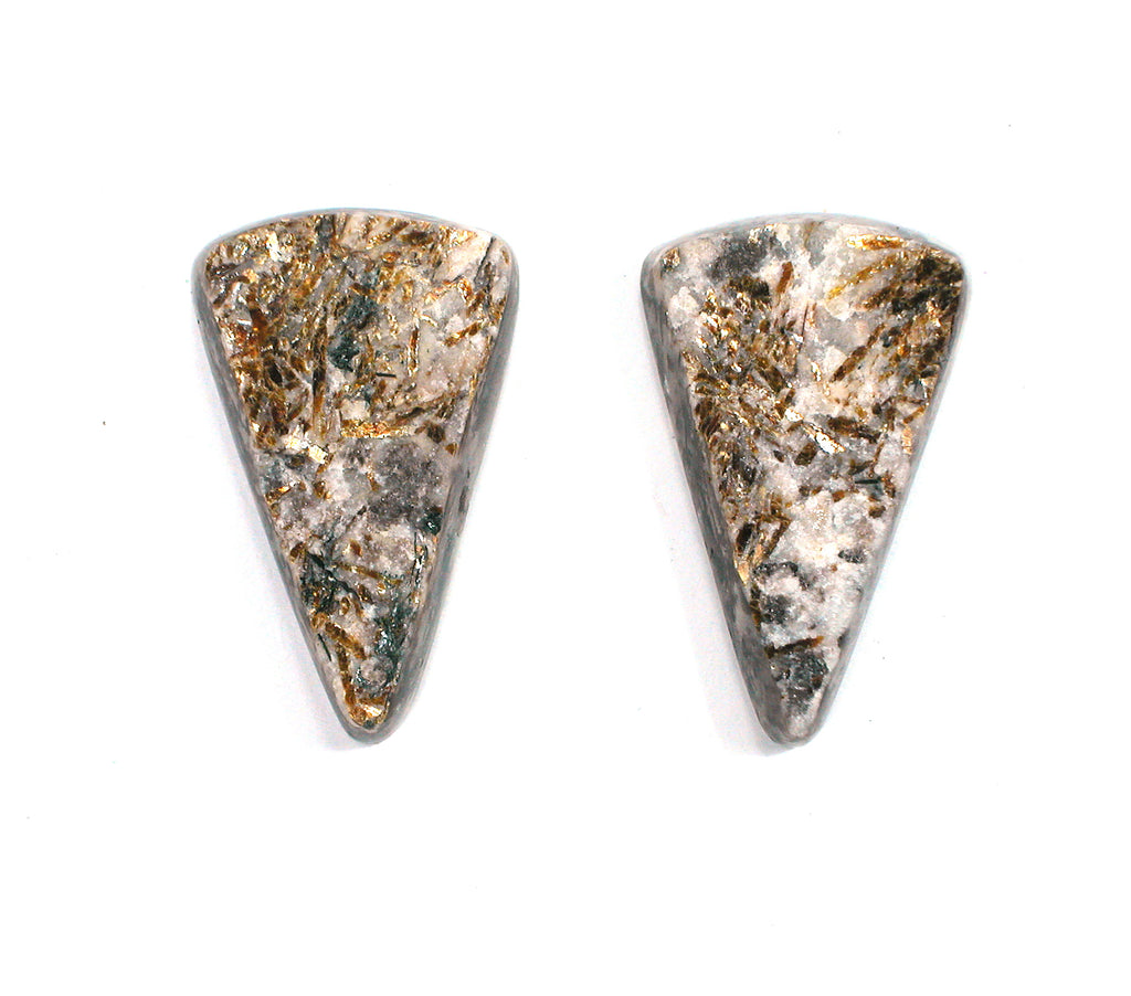 DVH Matched Pair Astrophyllite Druzy Fireworks Stone Natural Face Cabochon 30x15x5 (2405) - DVHdesigns