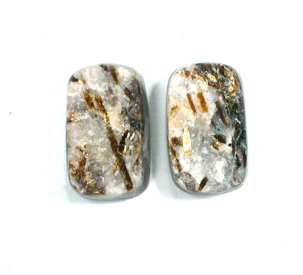 DVH Matched Pair Astrophyllite Druzy Fireworks Stone Natural Face Cabochon 16x10x5 (2406) - DVHdesigns