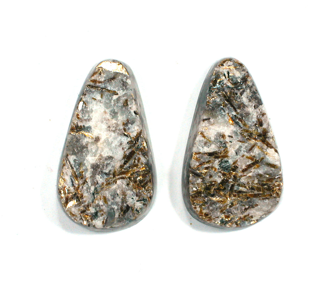 DVH Matched Pair Astrophyllite Druzy Fireworks Stone Natural Face Cabochon 28x15x6mm (2407) - DVHdesigns