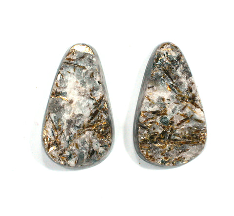 DVH Matched Pair Astrophyllite Druzy Fireworks Stone Natural Face Cabochon 28x15x6mm (2407)