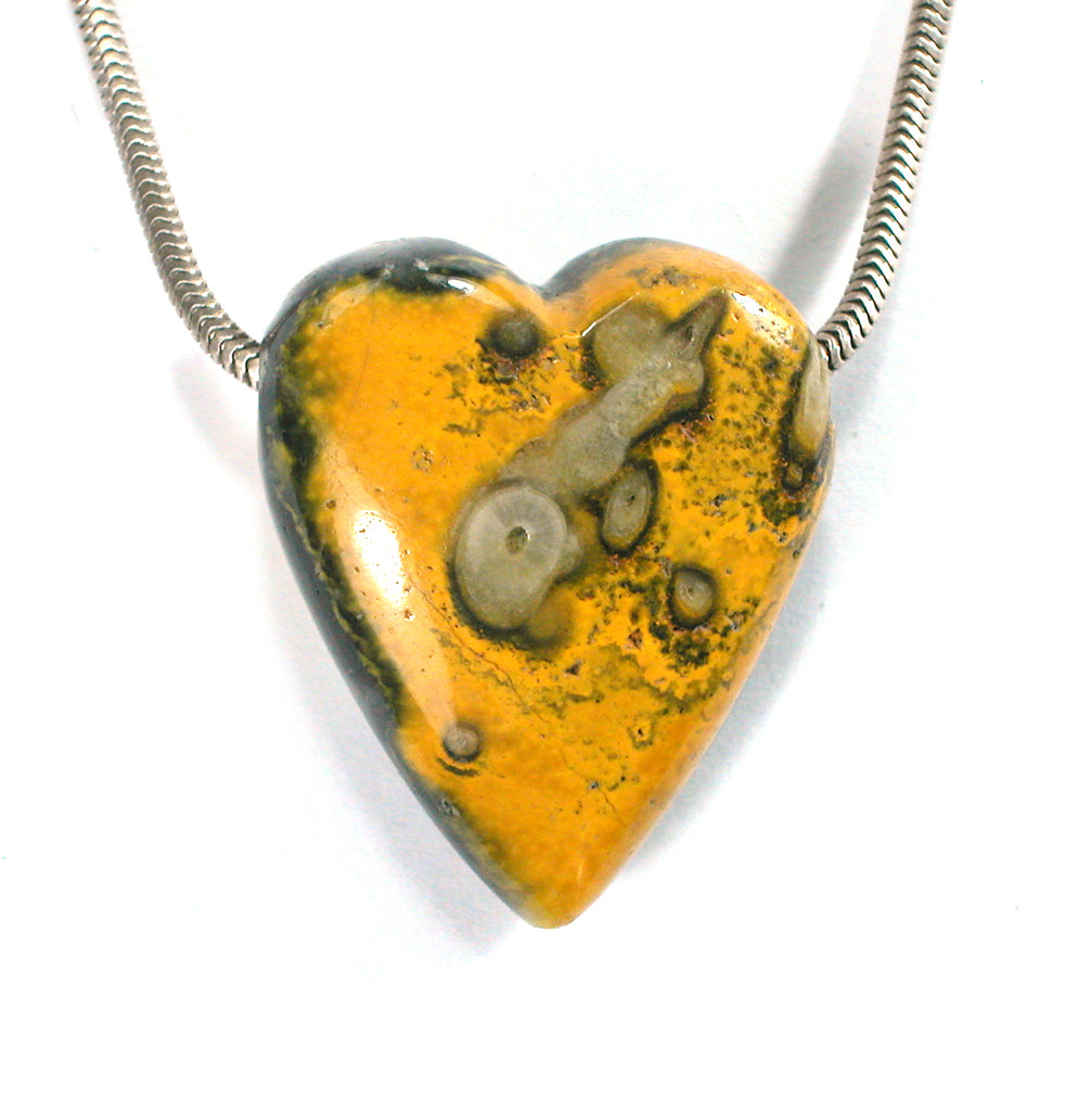 "DVH BumbleBee ""Jasper"" Calcite Heart Bead Java 33x28x15mm (2201) - DVHdesigns"