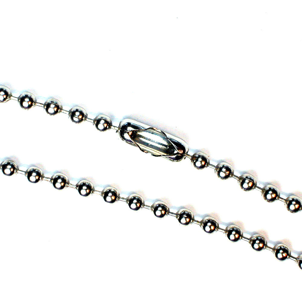 "DVH 20"" 2.4mm Nickel-Plated Steel Ball Chain w/Connector Clasp"