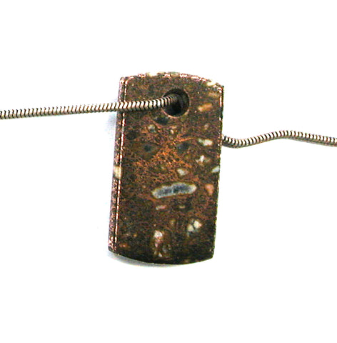 DVH Michigan Copper Firebrick Keweenaw Bead Dog Tag Pendant 34x18x5 (2849)