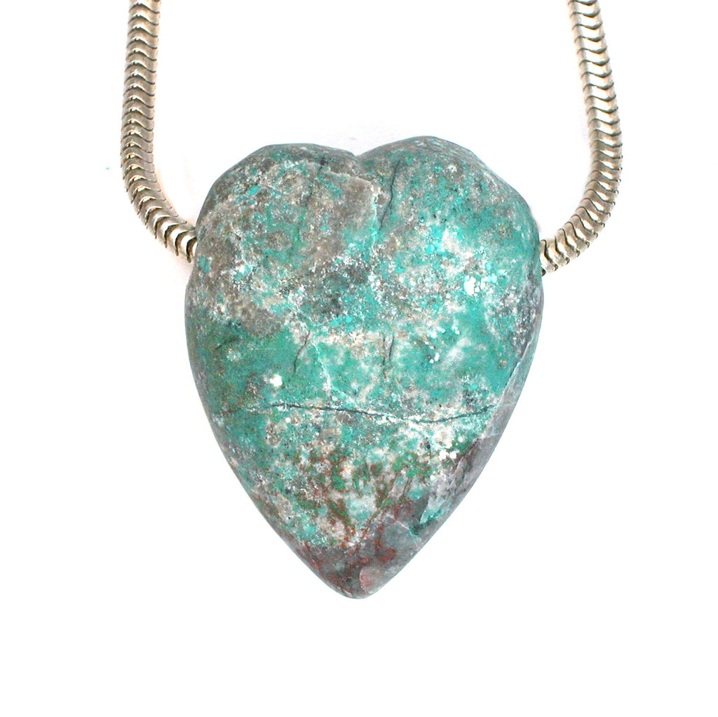 DVH Chrysocolla from Sonora Sunrise Heart Bead Pendant 32x25x15mm (1883) - DVHdesigns