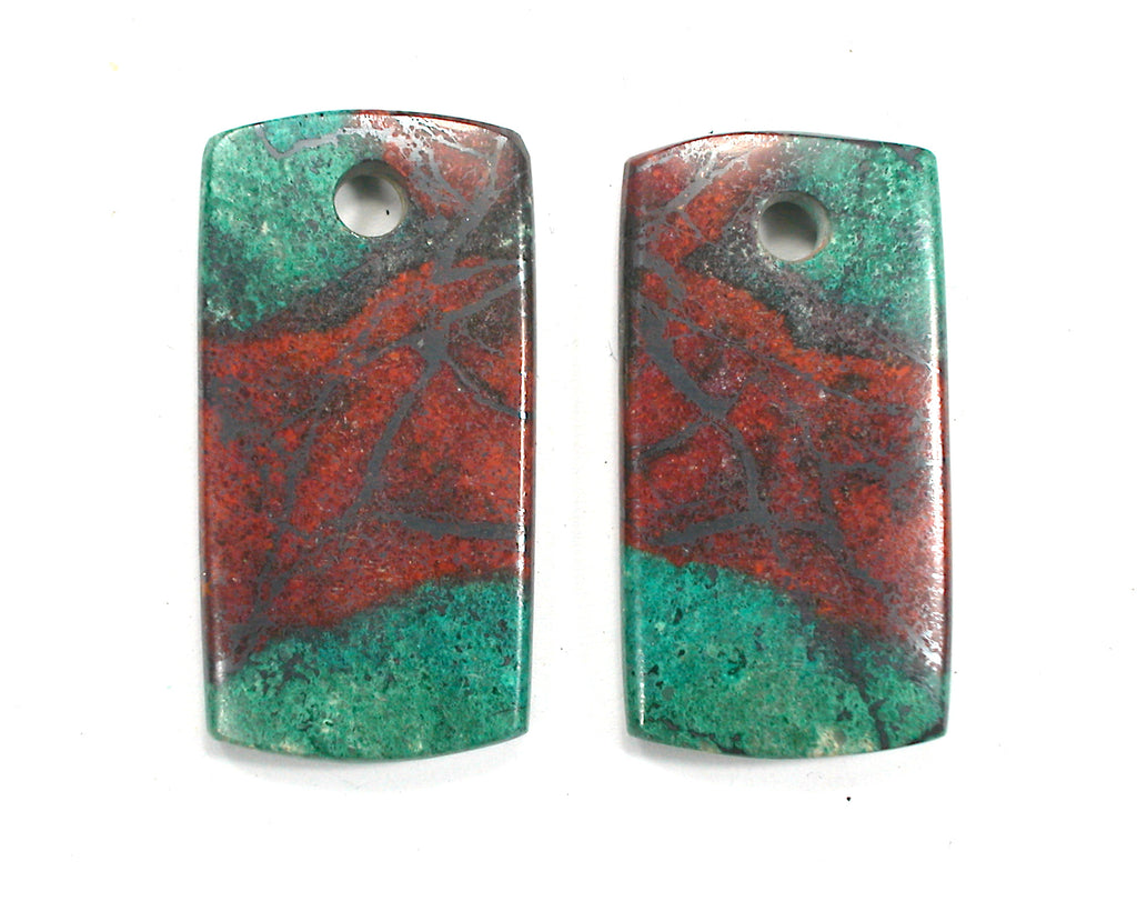 DVH Sonora Sunrise Couples Pair of Dog Tag Beads Chrysocolla Cuprite 42x22x5 (3214)