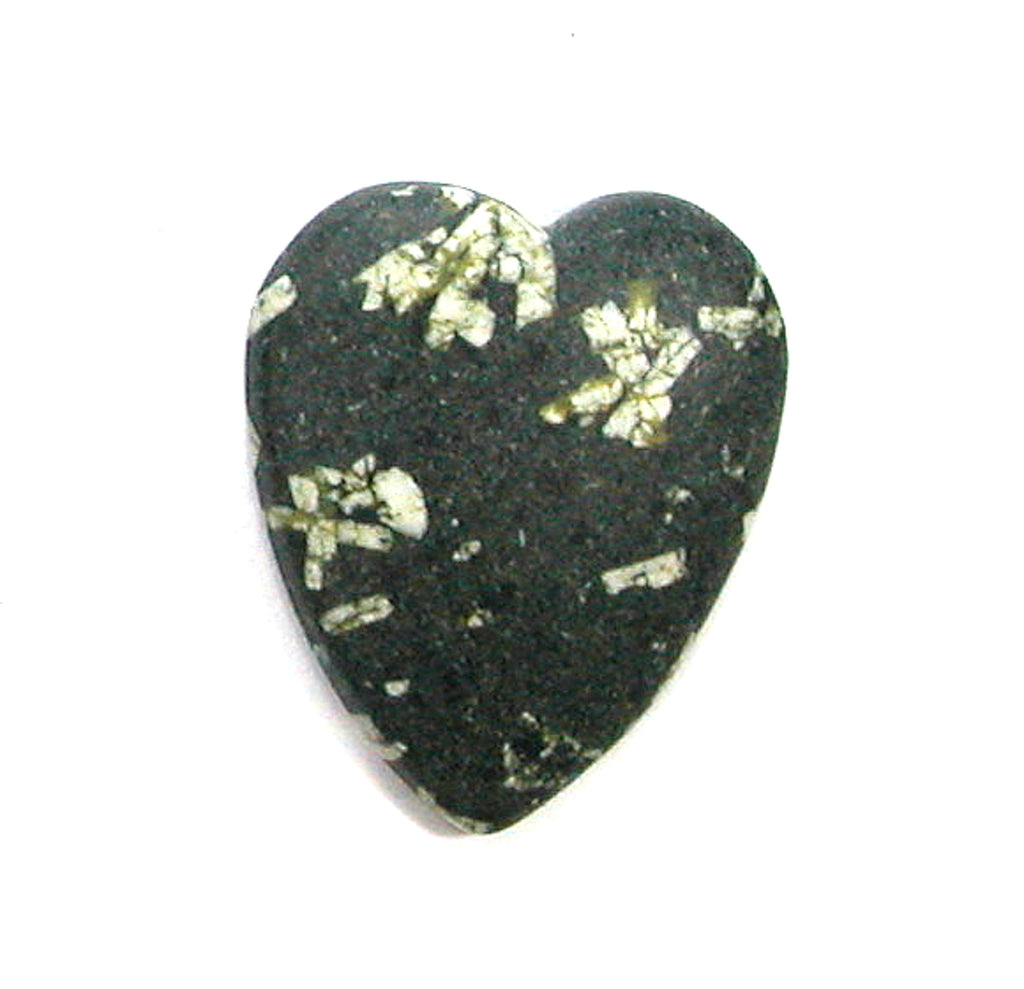 DVH Chinese Writing Rock Heart Cabochon Calligraphy Stone Aust. 33x28x6 (2820)