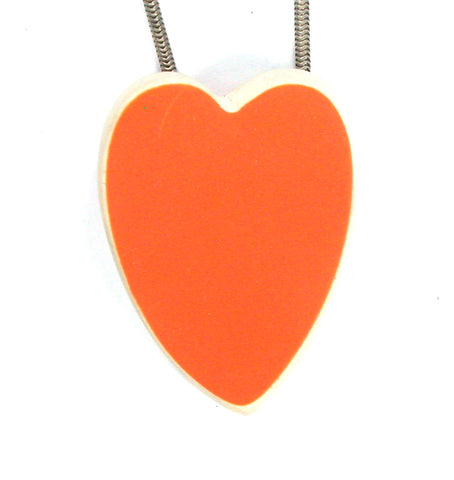 DVH Recycled Orange Fiesta Sea Glass Heart Bead Pendant 38x29x10mm (2022) - DVHdesigns