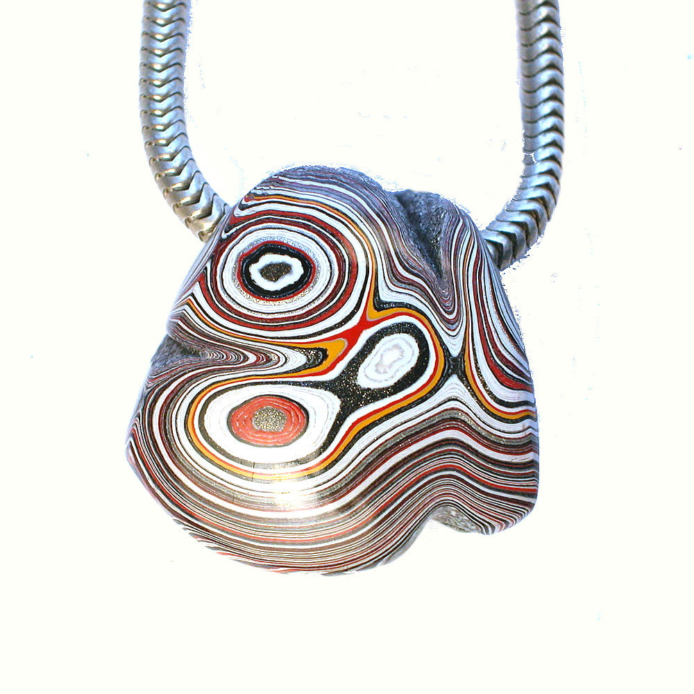 DVH Fordite Ford Paint Freeform Focal Bead 21x21x12mm (1133)