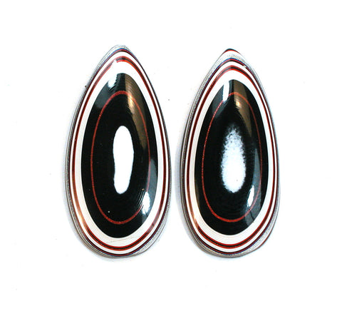 DVH Fordite Ford Paint Freeform Matched Pair of Cabochons 35x17x4mm (1732) - DVHdesigns