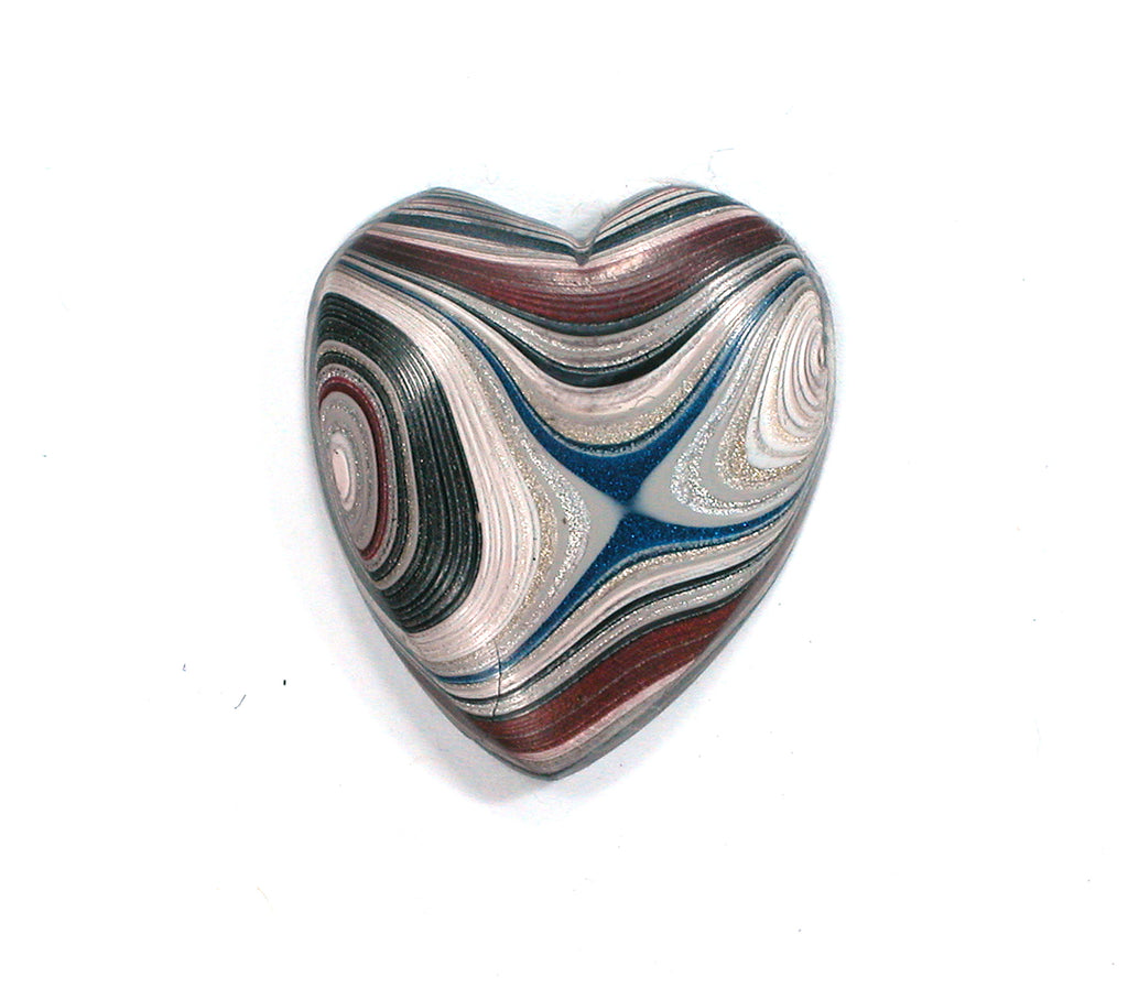 DVH Genuine Fordite Broken Heart Cabochon Cab 24x21x5mm (2353)