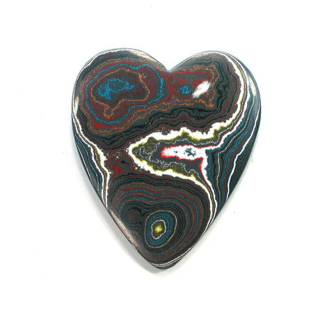 DVH Corvette Fordite Recycled Car Paint Heart 2 Sided Cabochon 39x34x4mm (2388) - DVHdesigns