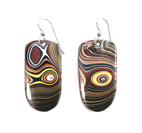DVH Corvette Fordite Car Paint Earrings Sterling 36x20x5 (2574) - DVHdesigns