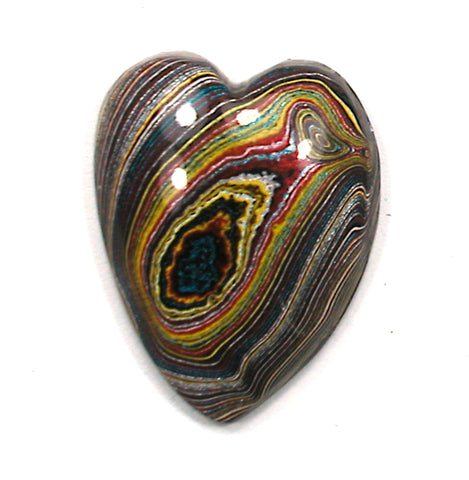 DVH Corvette Fordite Heart Cabochon Recycled Car Paint 28x22x7 (3338)