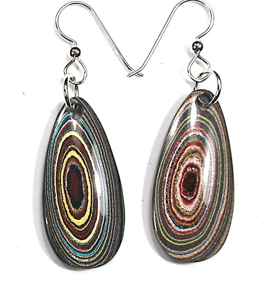 DVH Corvette Fordite Earrings Sterling French Wire 35x17x5 (3298)