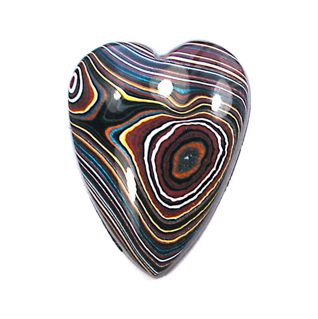 DVH Corvette Fordite Heart Cabochon Recycled Car Paint Cab 31x24x6 (3373)