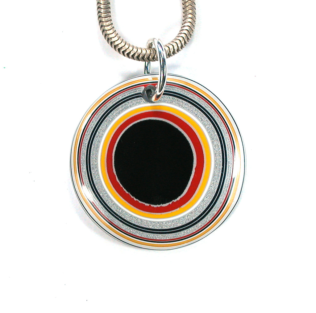 DVH Ford Truck Fordite Pendant 27mm Round Recycled Car Paint (2580) - DVHdesigns