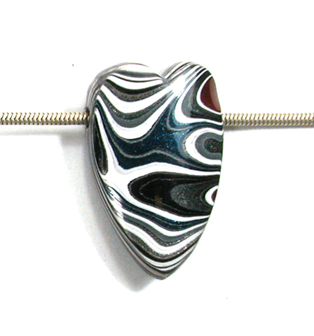 DVH Ford Truck Fordite Heart Bead Pendant 35x22x9mm (2740)