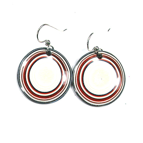 DVH Ford Truck Fordite Earrings Sterling French Wire 27mm Round (2881)