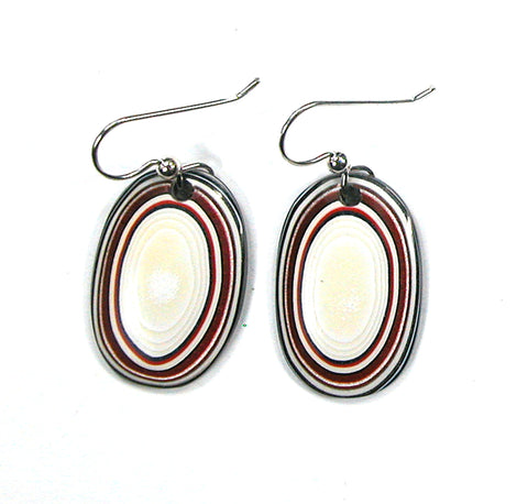 DVH Ford Truck Fordite Earrings Sterling French Wire 27x18x3 (2882)