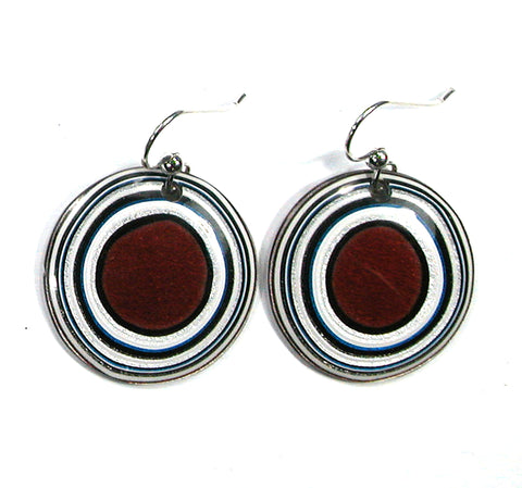 DVH Ford Truck Fordite Earrings Sterling French Wire 27mm Round (2883)