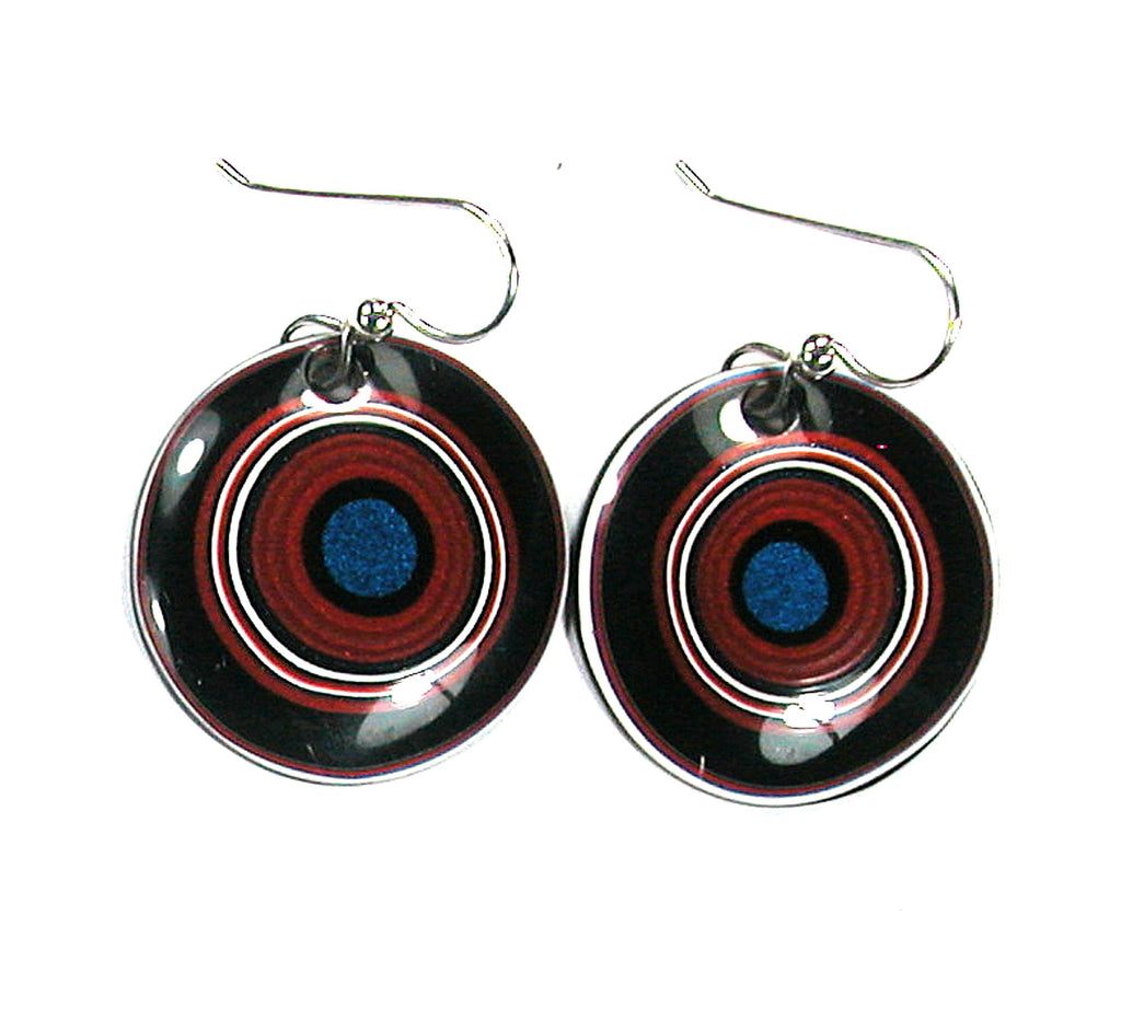 DVH Ford Truck Fordite Earrings Sterling French Wire 27mm Round (2917)