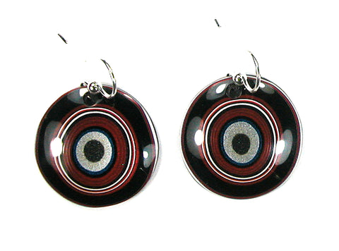 DVH Ford Truck Fordite Earrings Sterling French Wire 27mm Round (2918)