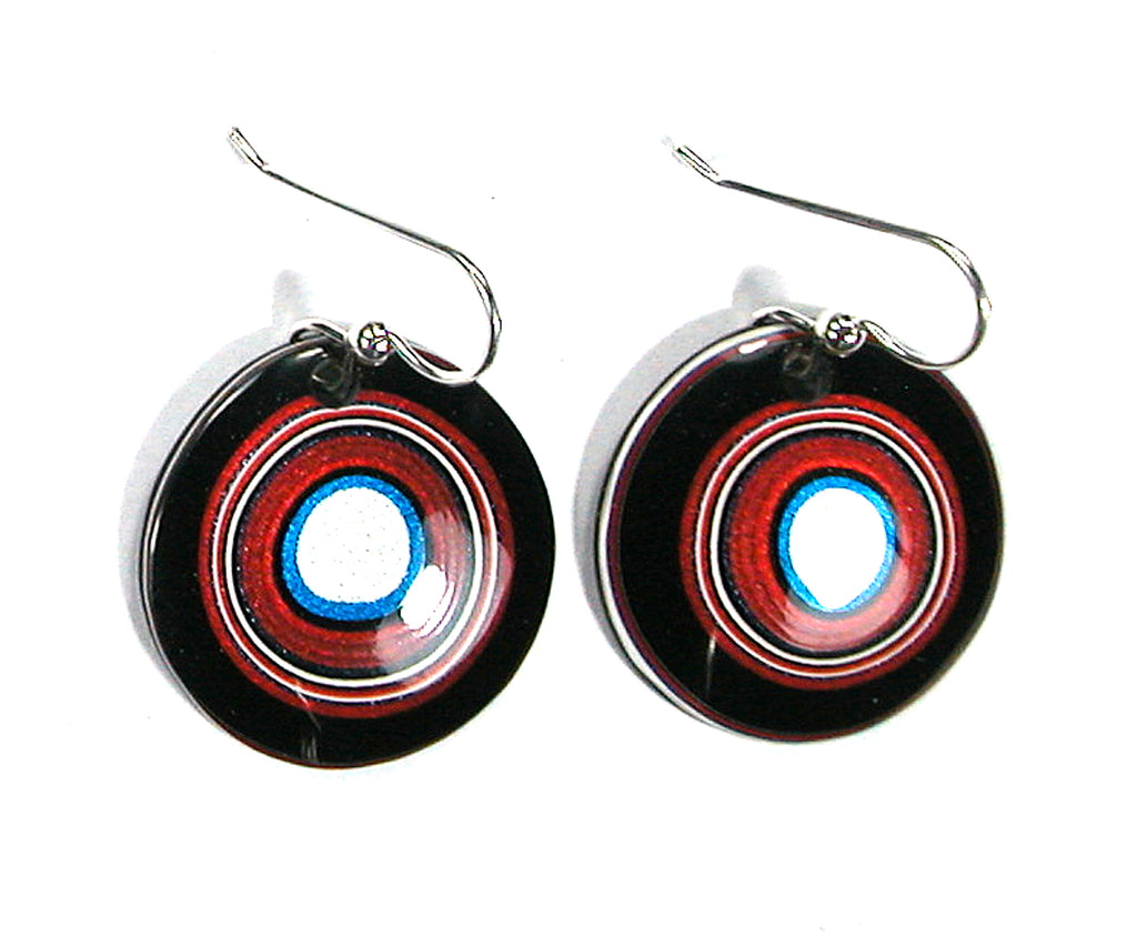 DVH Ford Truck Fordite Earrings Sterling French Wire 27mm Round (2919)